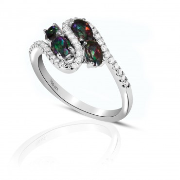 Exotic Rainbow and White Topaz Ring set in Sterling Silver