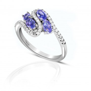 Fancy Tanzanite and White Topaz Ring set in Sterling Silver