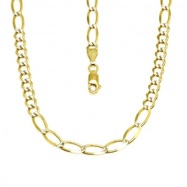 14 Karat Solid Yellow Gold Figaro Pave Link Chain
