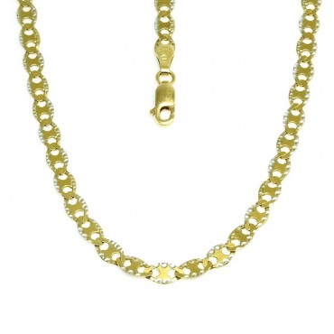 14 Karat Solid Two Tone Gold Flat Mariner Pave Chain