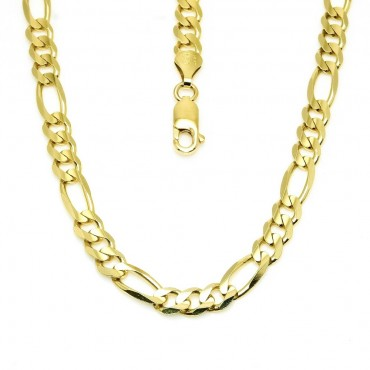 14 Karat Solid Yellow Gold Figaro Link Chain