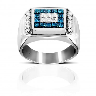 Men's Classic Blue and white Invisible Princess-cut and Channel-Set Diamond ring 14 Karat White Gold