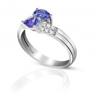 Alluring Tanzanite and White Topaz Ring set in Sterling Silver