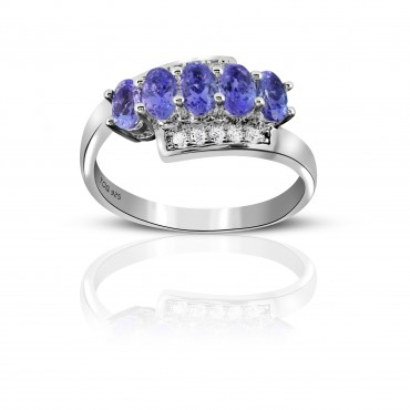 1.90 Carat Tanzanite Sterling Silver Tanzanite and White Topaz Ring