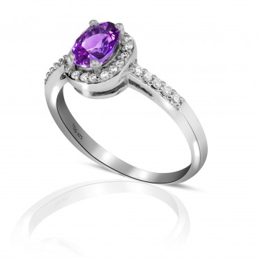 Marvelous Amethyst and White Topaz Ring set in Sterling Silver