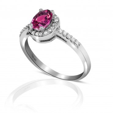 Beautiful Red Ruby with White Topaz Ring set in Sterling Silver