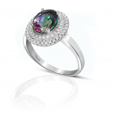 Fabulous Rainbow Topaz and White Topaz set in Sterling Silver