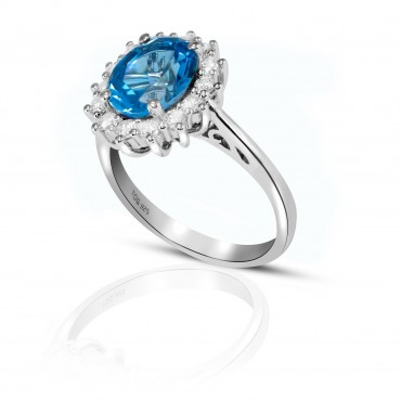 Stunning Blue and White Topaz Ring set in Sterling Silver