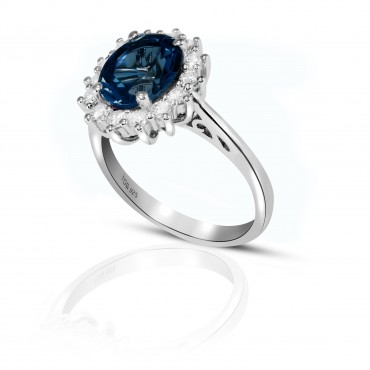 Stuning Sapphire and White Topaz Ring set in Sterling Silver