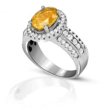 Sparkling Citrine with White Topaz Ring set in Sterling Silver