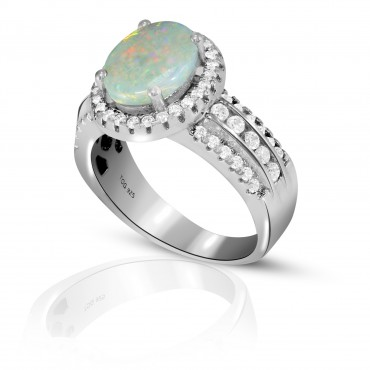Elegant Opal with White Topaz Ring set in Sterling Silver