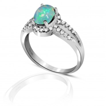 Striking Opal with White Topaz Ring set in Sterling Silver