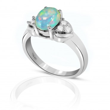 Vivid Opal and White Topaz Ring set in Sterling Silver
