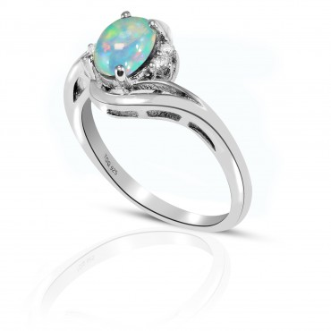 Gorgeous Opal with white Topaz Ring Set in Sterling Silver