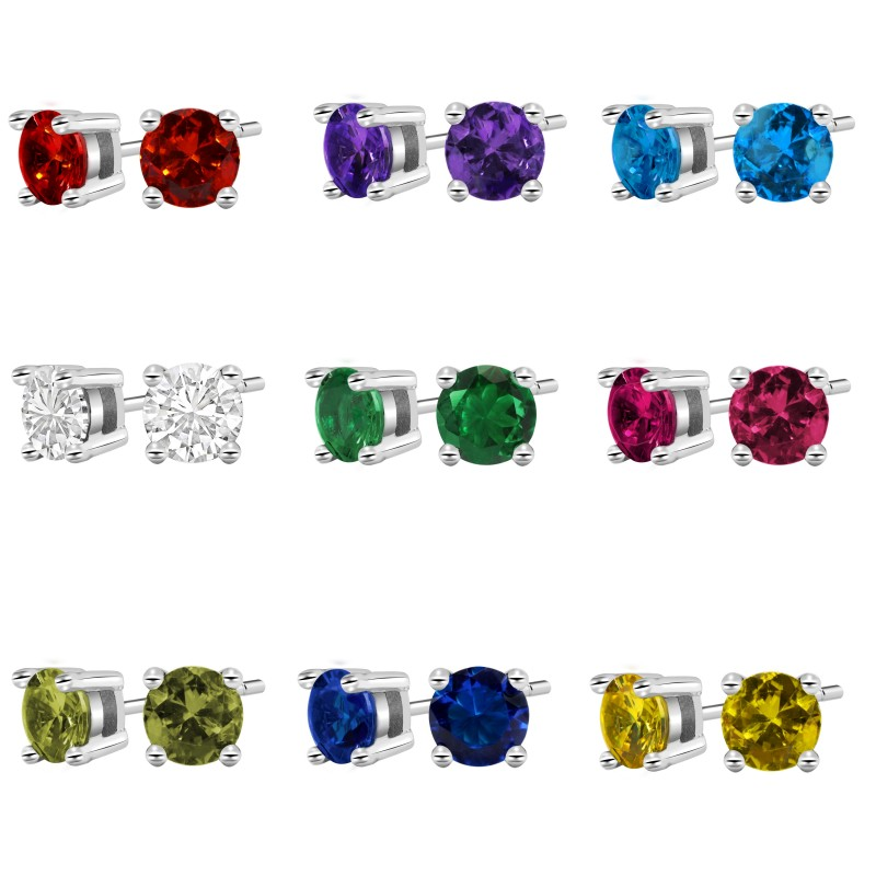 Beautiful 1.2 Carat CZ Stud Earrings choose from 9 colors buy 3 pairs for 40.00
