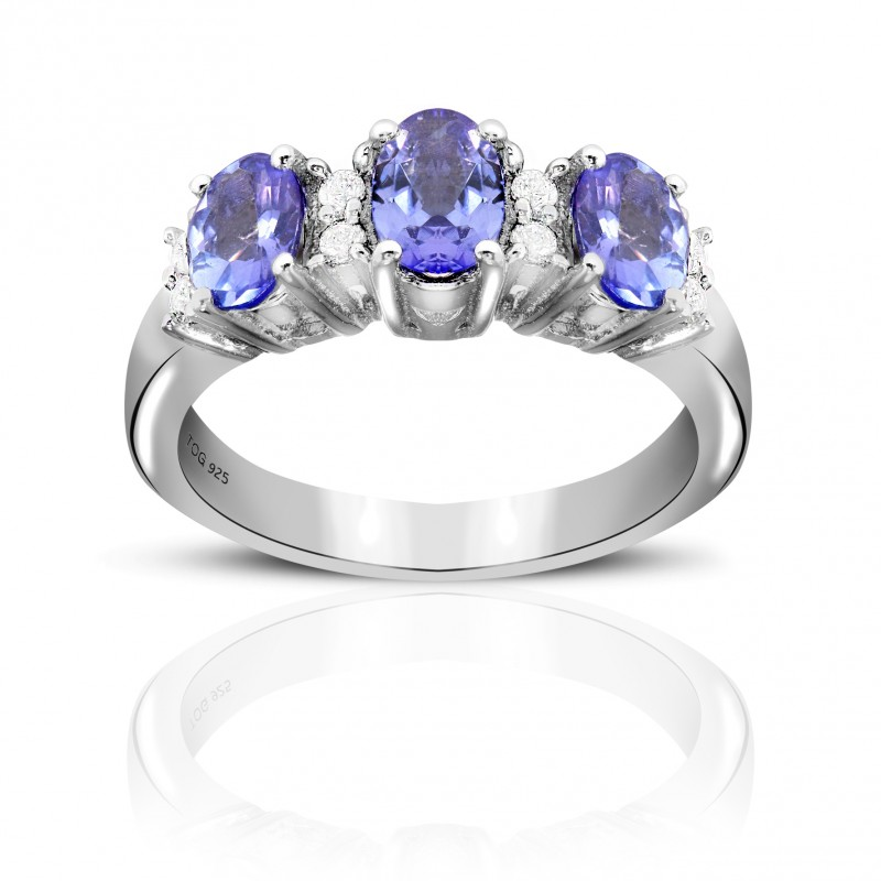 1.10 Carat Tanzanite Sterling Silver Tanzanite and White Topaz Ring