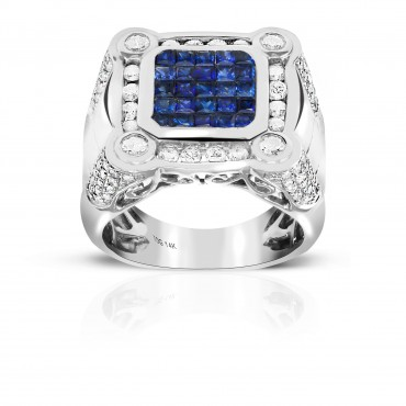 London Blue Sapphire Invisible Princess-cut Men's Ring with Full cut Channel-Set and accent Diamonds 14 Karat White Gold