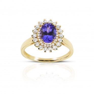 'Lissa' Tanzanite Ring double halo with Full cut Diamonds 14 Karat Yellow Gold