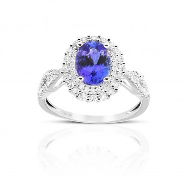 Oval Tanzanite double-halo split shank ring with Pave' Full cut Diamond accents 14 Karat White Gold