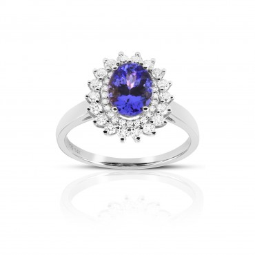 'Lissa' Tanzanite double-halo ring with Full cut Diamonds 14 Karat White Gold