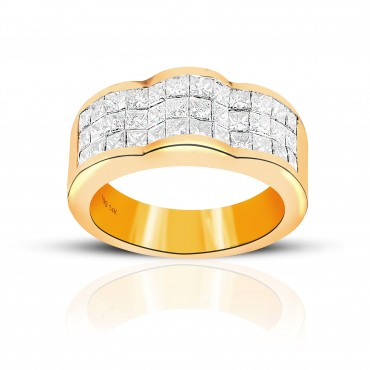 Glamorous Invisible Princess-cut Diamond Ring 14 Karat Yellow Gold
