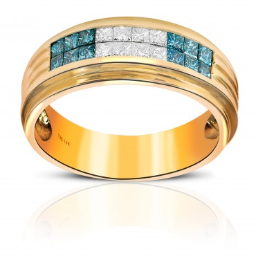 Fabulous Men's Ring with Blue and White Invisible Princess-cut Diamonds 14 Karat Yellow Gold