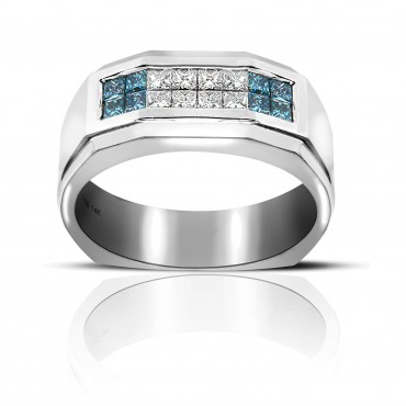 Impressive Men's Ring with Blue and White Invisible Princess-cut Diamonds 14 Karat White Gold
