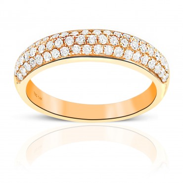 Woman's Double Row Pave' Style Diamond Wedding Ring 14 Karat Yellow Gold