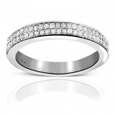 Woman's Double Row Pave' Diamond Style Wedding Ring 14 Karat White Gold