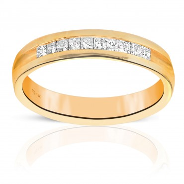 Woman's Invisible Princess-cut Ten Diamonds Wedding Ring 14 Karat Yellow Gold