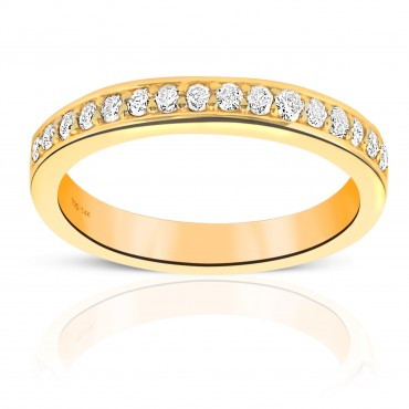 Woman's Channel-Set Sixteen Round Full cut Diamond Wedding Ring 14 Karat Yellow Gold
