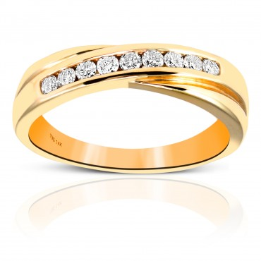 Woman's Nine Stone Round Full cut Channel-Set Diamond Wedding Ring 14 Karat Yellow Gold