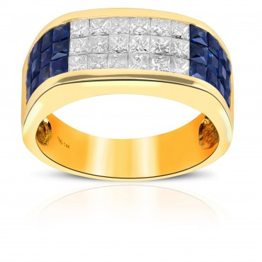 Radiant Blue Sapphire and Diamond Invisible Princess-cut Men's Ring 14 Karat Yellow Gold