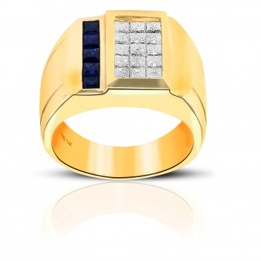 Brilliant Blue Sapphire and Diamond Invisible Princess-cut Men's Ring 14 Karat Yellow Gold