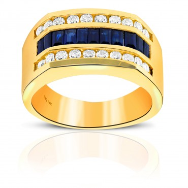 Classic Blue Sapphire and Diamond Baguette and Channel-set Men's Ring 14 Karat Yellow Gold