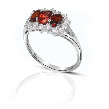 Stunning Garnet and White Topaz Ring set in sterling Silver