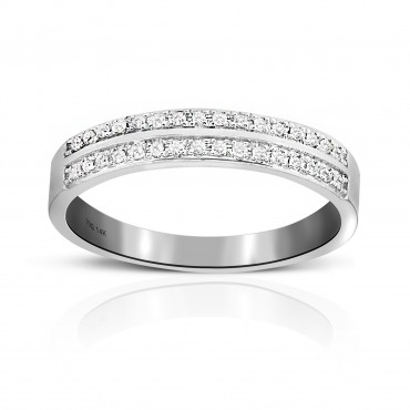 Woman's Double row Pave' Wedding Ring with Round Full cut Diamonds 14 Karat White Gold
