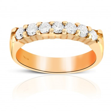 Woman's Seven Stone Shared Prong-Set Diamond Wedding Ring 14 Karat Yellow Gold
