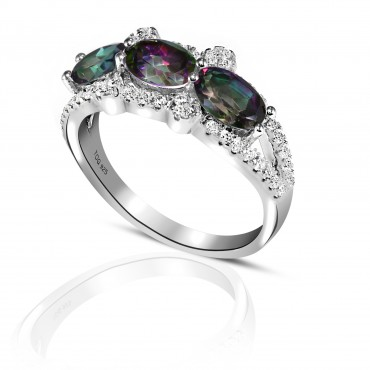 Vibrant Rainbow and White Topaz Ring set in Sterling Silver