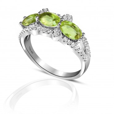Pleasing Tourmaline and White Topaz Ring set in Sterling Silver