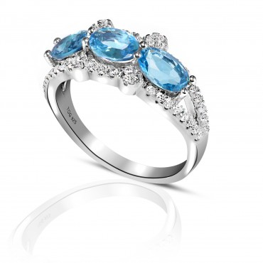 Glorious Blue and White Topaz Ring set in Sterling Silver