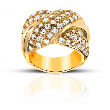 Chris Cross Bejeweled Pave style Cocktail Ring 14 Karat Yellow Gold