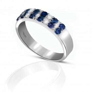 Sparkling Sapphire and White Topaz Ring set in Sterling Silver