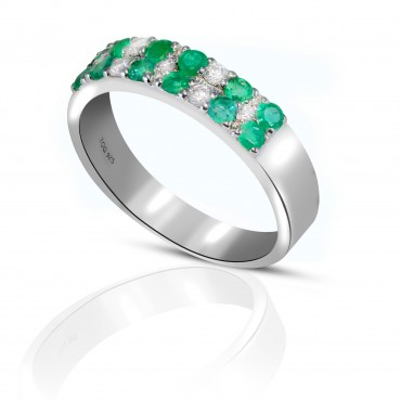 Amazing Emerald and White Topaz Ring set in sterling Silver