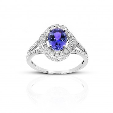 Vintage Style Oval Tanzanite double-halo ring with Pave' Diamond accents 14 Karat White Gold