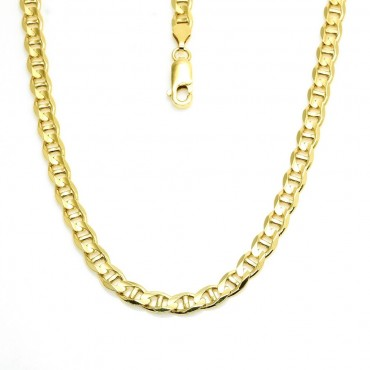 14 Karat Solid Yellow Gold Mariner Concave Link Chain