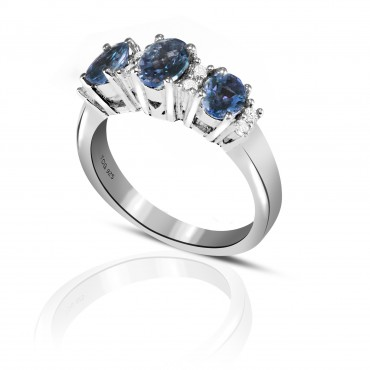Graceful Blue Sapphire and White Topaz Ring set in Sterling Silver