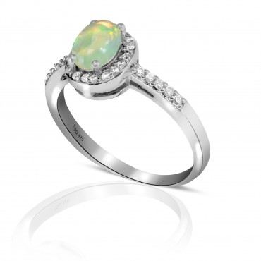 Superb Opal with White Topaz ring set in Sterling Silver