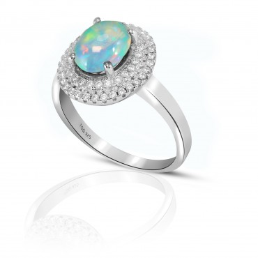 Elegant Opal and White Topaz Ring set in sterling Silver