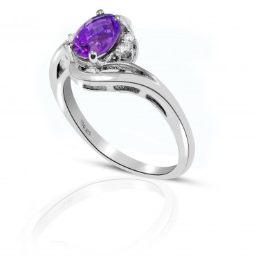 Sensational Amethyst with White Topaz Ring set in Sterling Silver